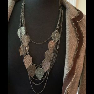 Black or Silver layered leaf necklace